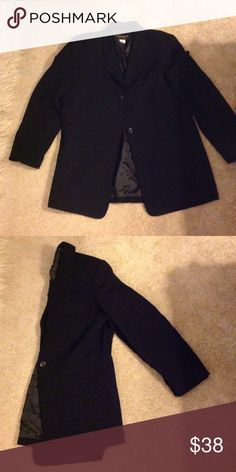 Black Two Button Blazer Dress it up or down.  Classic fit. Requirements Jackets & Coats Blazers