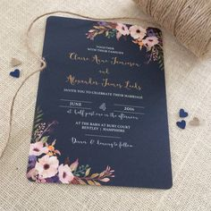 Floral Bloom Wedding Invitation with matching RSVP SAMPLE
