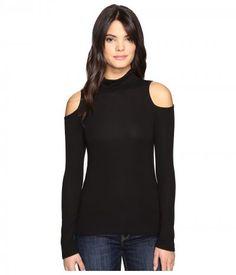 Lanston - Cold Shoulder Turtleneck Top (Black) Women's Clothing