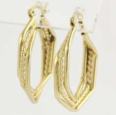 Hexagon Hoop Earrings  14k Yellow Gold Polished by WilsonBrothers, $169.99