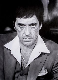 Graphite portrait : Commission work : Al Pacino from the movie ( SCARFACE ) Paper: Sketching paper 110 gsm ( acid free ) Size : 30 X 42 cm - Pencils . Al Pacino Scarface Quotes, Scarface Poster, Scarface Movie, Mafia, Full Chest Tattoos, Scared Face, The Godfather, Godfather Tattoo, Shades Of Black