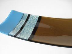 Fused Glass Rectangle Plate Bronze, Blue, Black & Aqua Pattern