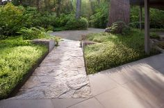 path inlay, divided boulder, bronze edging and subdued woodland planting in a garden by Paul R Broadhurst + Associates, Seattle, WA (Photo by Steve Dubinsky)