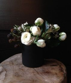 "The ""Bowery"" arrangement from 2h flowers — a wintry mix of whites and darks…"