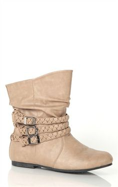 Deb Shops Short Flat #Ankle #Boot with Braided Straps $29.90