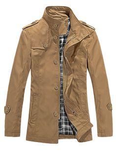 Men Zip Closure Convertible Collar Autumn Wearing Trench Coat Khaki L