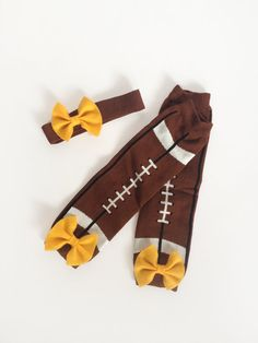 Football Baby Leg Warmers with Bow and Matching Headband Pick Your Team Color - READY TO SHIP