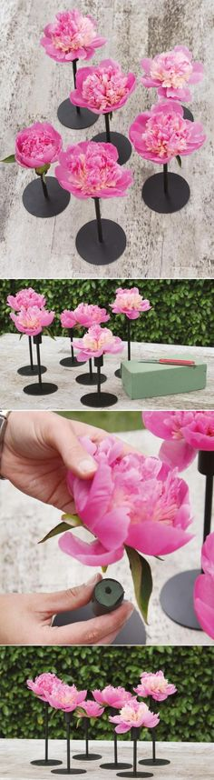 cool idea using candlestick holders, could buy bunch of mismatched at goodwill, spraypaint then either use single flowers or feathers pushed into small piece of floral foam Party Centerpieces, Floral Centerpieces, Reception Decorations, Event Decor, Floral Arrangements, Graduation Centerpiece, Centerpiece Wedding, Diy Wedding, Wedding Events