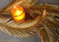 Gilded Sago Palm Leaves with Candle ⓒ Michaela at TGE