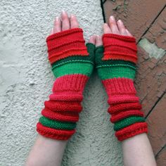 Red Fingerless Gloves For Summer! Unmatched Hand Knit Mittens with upcycled linen, cotton and viscose. by dwarfs on Etsy