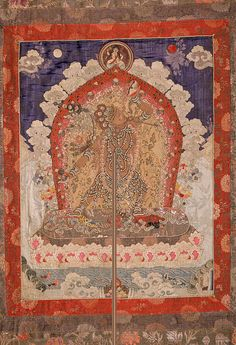 118 Vajrayogini (Naro Dakini) with Siddha Tibet Ca. late 19th to early 20th century H: 55 1/2 in. (140.3 cm) W: 40 in. (101.6 cm) Polychrome silk damask and brocade appliqué, embroidery, and freshwater pearls