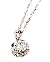 """18"""" + EXT Silver Clear Cubic Zirconia Pendant Necklace Retail - $32.12 You Pay - $16.06 w/ free shipping in the US."""