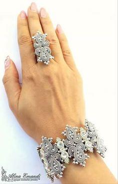 ref 001 pulsera y anillo platino Wire Jewelry, Bridal Jewelry, Jewelry Crafts, Beaded Jewelry, Jewelery, Handmade Jewelry, Soutache Pendant, Soutache Necklace, Shibori
