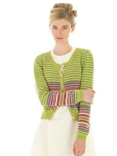 Celeste - Knit this womens stripe cardigan Rowan Knitting & Crochet Magazine 55, a design by Martin Storey using the ever popular yarn Cotton Glace (c...