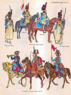 Zappatori della fanteria di linea, dei lancieri della linea, dei dragoni a cavallo e a piedi francesi e ussari della legione Lauzau