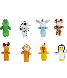 Vingerpopjes dierenvriendjes 8 stuks. Set van 8 gedetailleerde vingerpopjes gemaakt van zacht textiel met gestikte gezichten. De acht dierenvriendjes bestaan uit: een krokodil, dalmatier hondje, ezel, giraffe, eland, aapje, kip en pinguin.