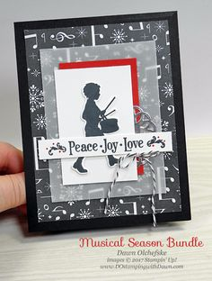 I like the addition of the vellum to tone down the background around the main focus of the card. Stampin' Up! Musical Season Bundle by Dawn Olchefske Christmas Cards 2017, Stampin Up Christmas, Christmas Music, Xmas Cards, Holiday Cards, Christmas Crafts, Boy Cards, Card Patterns, Winter Cards