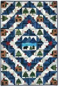 Log Cabin quilt with real log cabins!