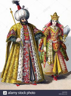 Stock Photo - These figures represent a Sultan and a Sultana in the Ottoman Empire in 1500 Historical Costume, Historical Clothing, Location Costume, Sultan Ottoman, Empire Ottoman, Vintage Magazine, Arabian Nights, North Africa, World War I