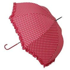 Red/White Dots Ruffled Umbrella/Parasol