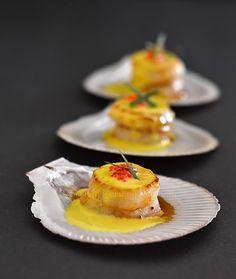 Scallops with saffron cream