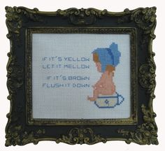 Water Saving Cross Stitch E-Pattern. I have been looking for this forever! Water Waste, Save Water, All Things, Weaving, Cross Stitch, Told You So, Crafty, Frame, Pattern