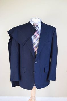 Mens Navy Blue Wool Two Button Suit 42R