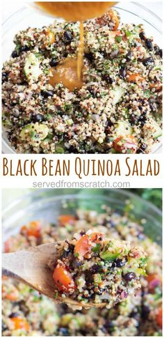 Kick start those New Year Resolutions with this Black Bean Quinoa Salad. It's fresh, bright, vegan, and incredible healthy. #vegan #quinoasalad #blackbeans #healthy #recipe