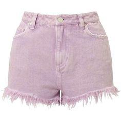 Miss Selfridge Lilac Acid Wash Denim Shorts (€6,42) ❤ liked on Polyvore featuring shorts, bottoms, short, lilac, cotton shorts, miss selfridge, short cotton shorts, acid wash shorts and short shorts