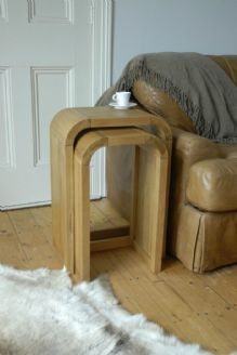 retro curved light oak lounge pair of petite tall nest of tables chadwick satin lacquered oak hidden