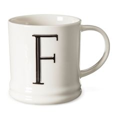 Monogrammed Porcelain Mug 15oz White with Black Letter F - Threshold, Black White