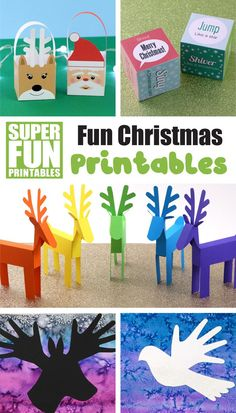 A fun set of four fun printable Christmas crafts to keep kids busy this holiday season. Includes paper reindeer, paper Christmas baskets, Christmas themed noise and action dice and silhouette handprint artwork with three different designs to choose from. Christmas Baskets, Christmas Themes, Kids Christmas, Christmas Crafts, Kids Holidays, Celebrating Christmas, Easy Crafts For Kids, Fun Crafts, Paper Crafts