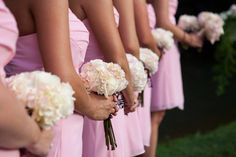 Bridesmaids. Simple wedding flowers. Black and light pink wedding and reception