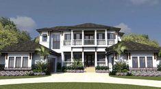 Florida Style Home Design Plan: 82-124