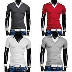Sale 25% (12.36$) - Men Fake Two Shirt Collar Slim Short Sleeve POLO T-shirt