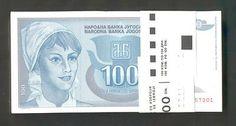 YUGOSLAVIA * BUNDLE OF 100 PCS! 100 Dinara 1992 UNC *P112 *YOUNG WOMAN*  http://www.ebay.com/itm/YUGOSLAVIA-BUNDLE-100-PCS-100-Dinara-1992-UNC-P112-YOUNG-WOMAN-/160840481898?pt=Paper_Money=item2572d6fc6a
