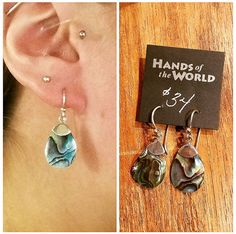Gorgeous abalone tear earrings, made in Thailand. $34.