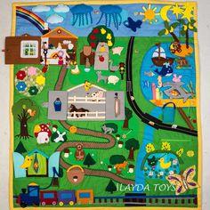 Big Developing Play Mat Felt Play Mat Quiet Time by WeriBeauties Felt Crafts, Diy And Crafts, Felt Games, Felt Play Mat, Famous Fairies, Boy Quilts, Busy Book, Kids Rugs, Crafty
