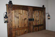 """How to build a rustic barn door headboard DIY.Our completed """"new"""" old barn door headboard Diy Home Decor Rustic, Diy Home Decor Bedroom, Country Decor, Bedroom Ideas, Headboard Ideas, Barn Door Headboards, Mantle Headboard, Bed Headboards, Rustic Crafts"""
