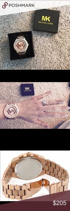 Michael Kors watch! Rose gold and pave' rhinestone style watch! More detailed description in the 4th picture! Michael Kors Accessories Watches
