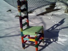 Love this yarn bombed chair