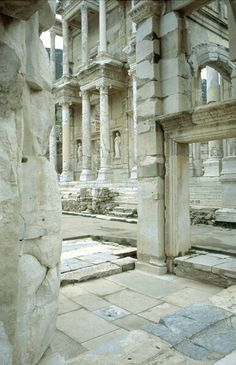 ruins of the library in Ephesus, the rivaled the Egyptian library of Alexandria.  The apostle Paul preached in this city.  © Doug Nelson