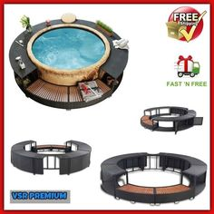 Hot Tub Enclosure Furniture Rattan Spa Area Pool Jacuzzi Inflatable Surround Out. Tub Tub Enclosure Furniture sauna hot tub vidaXL Poly Rattan Spa Surround - Black for sale online Hot Tub Gazebo, Hot Tub Deck, Hot Tub Backyard, Hot Tub Garden, Intex Hot Tub, Lazy Spa, Deco Spa, Hot Tub Surround, Spa Furniture