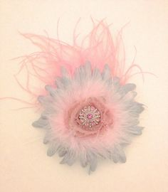 Silver Pink Feather Flower by FancyGirlBoutiqueNYC