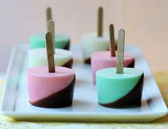 pink squirrel, grasshopper and lemon chiffon jello shots dipped in chocolate