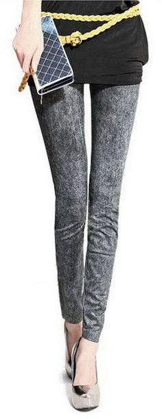 Spring Summer Casual Slim Thin Nine Fitness Jeans Leggings Denim Printed Leggings For Women Leggins Lady Pencil Pants Xy3729