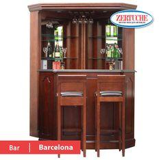 Barcelona Bar Juego de cantina en estilo clasico en chapa de alamo acabado nogal, compuesta; barra, contrabarra puente y 2 bancos ¡Llévatelo a 6 meses con tarjeta de crédito! #Muebles #Bar #Nogal