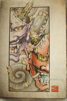 传统般若樱花纹身手稿