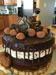 Cookies n' Cream cake with Jack Daniel truffles.