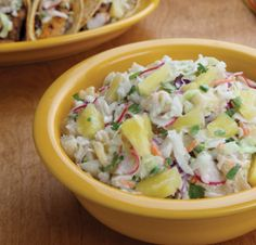 Crunchy with a light tangy dressing, this colorful, sweet and spicy slaw can be a delicious side salad or a topping for fish or chicken tacos. Side Dish Recipes, Side Dishes, Slaw Recipes, Spring Salad, How To Eat Better, Dinner Sides, Side Salad, Sweet And Spicy, Good Food